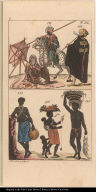[Fig. 141. Arab man. Fig. 142. Woman of Djibba Fig. 143. Man of the Barbary Coast. Fig. 144, 145, and 146. Man, women, and children from Surinam. ]