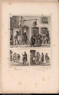 [top] Les Premières Occupations du Matin. [bottom left] Quèteurs. [bottom right] Voeu d'une Messe Demandée comme Aumône.