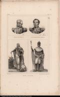 [top left] Le Roi Don João VI. [top right] L'Empereur Don Pedro Ier. [bottom] Grand Costume.