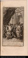 Manda Cortes poner grillos á Motezuma mientras se ajusticia á un General de su Imperio.