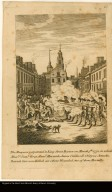 The Massacre perpetuated in King Street Boston on March 5th. 1770, in which Messrs. Saml. Gray, Saml. Maverick, James Caldwell, Crispus Attucks, Patrick Carr were Killed, six others Wounded, two of them Mortally.