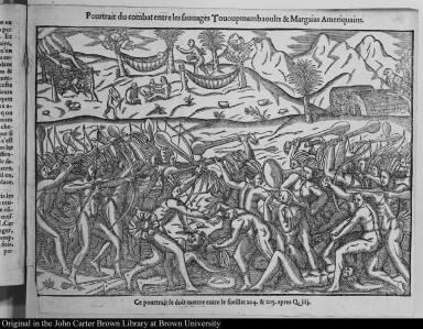 Pourtrait du combat entre les sauuages Tououpinambaoults & Margaias Ameriquains.