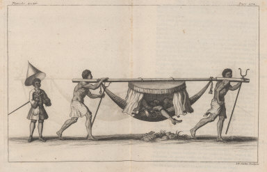 [Two men carry another on a hammock]