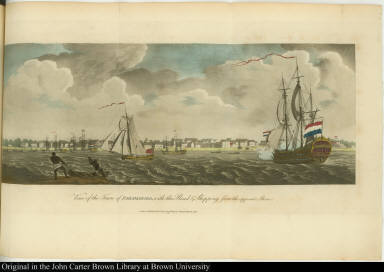 View of the Town of Paramaribo, with the Road & Shipping; from the opposite Shore.