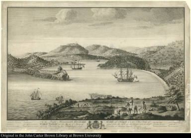 To the Right Honourable Richard Earl of Temple &c. &c. This View of English Harbour in the Island of Antiqua taken from the Hill at the Upper end ...