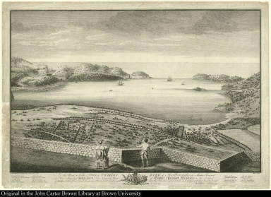 To the Most Noble Prince Charles ... This General View of English & Falmouth Harbours in the Island of Antigua taken from Great George alias Monks Hill Fort ...