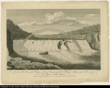 A North West View of the Chohoes, or Great Cataract of the Mohawk River in the Province of New York in North America. The Perpendicular Height of the Fall 75 Feet.