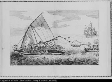 [Dutch musketeers fire on a native vessel shortly after navigating the Strait of Magellan in 1616]
