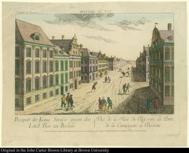 Vuë de Boston. Prospect der König[lichen] Strasse gegen das Land Thor zu Boston. Vue de la Rue du Roy vers la Porte de la Campagne a Boston.