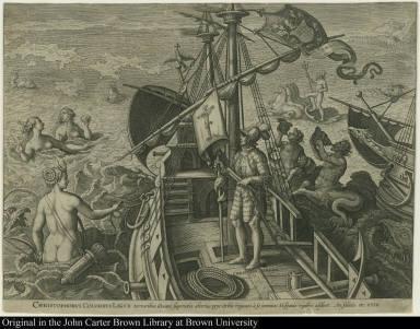 Christophorus Columbus Ligur Terroribus Oceani superatis alterius pene Orbis regiones à se inventas Hispanis regibus addixit An. salutis