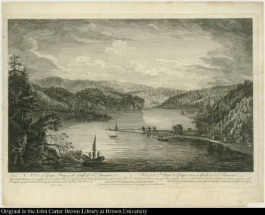 A View of Gaspe Bay in the Gulf of St. Laurence. This French Settlement used to supply Quebec with Fish, till it was destroyed by General Wolfe ... Vue de la Baye de Gaspé dans le golfe de St. Laurent ...