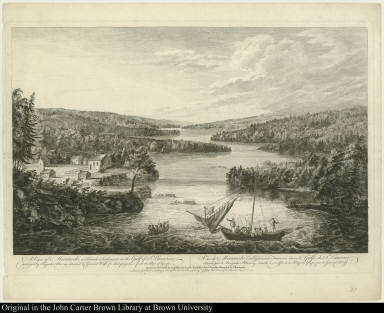 A View of Miramichi, a French Settlement in the Gulf of St. Laurence, destroyed by Brigadier Murray ... Vue de Miramichi Establissement François dans le Golfe de St. Laurent ...