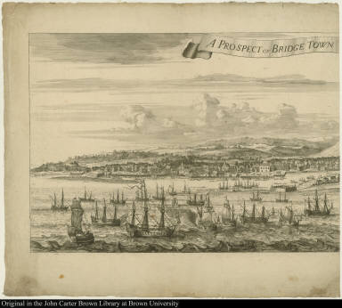 A Prospect of Bridge Town [in Barbados. 1695 By Samuel Copen.]