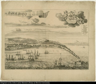 [A Prospect of Bridge Town] in Barbados. 1695 By Samuel Copen.