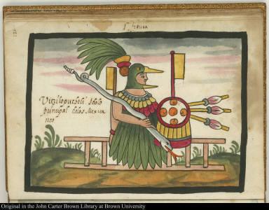 1a figura Uitzilopuchtli, idolo principal de los Mexicanos.