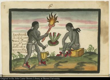 4a. Sacerdotes de los idolos, y como de noche offrescian sacrifficio, quemando encienso y atravesandose las pantorrillas.