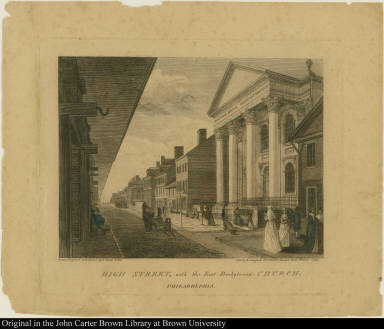 High Street, with the First Presbyterian Church. Philadelphia
