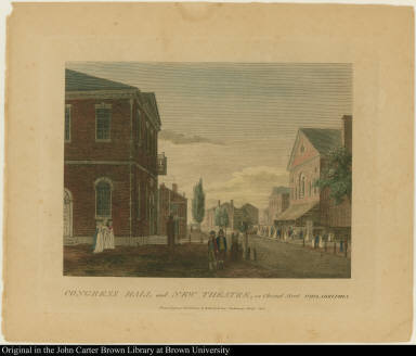 Congress Hall and New Theatre, in Chesnut Street Philadelphia.