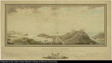 Prise de l'isle de la Grenade. avec la Vüe de l'Attaque du Fort du Morne de l'Hopital, emporté d'Assaut par les Troupes du Roy le 4 Juillet 1779.