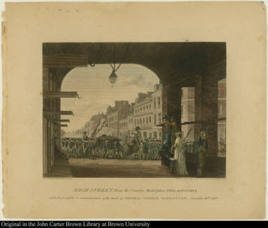 High Street, From the Country Market-place Philadelphia: with the procession in commemoration of the Death of General George Washington, December 26th: 1799