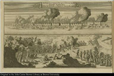 Reskontre van de Spanÿaerden tegens de Roovers voor de stadt Panama, Nevens het Verbranden en Ruÿneren van de selve stadt.