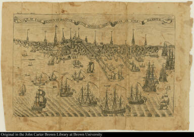A view of the town of Boston with several ships of war in the harbour.