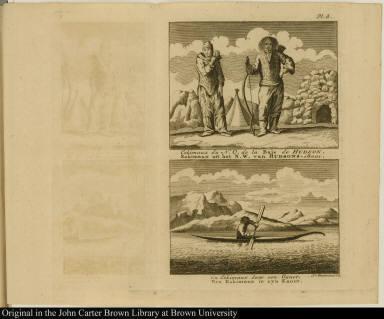 [top] Eskimaux du N. O. de la Baïe de Hudson. Eskimaux uit het N. W. van Hudsons-Baai. [bottom] Un Eskimaux dans son Canot. Een Eskimaux in zyn Kanot.