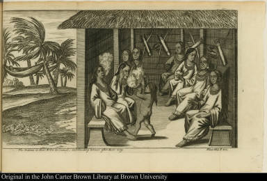 The Indians in their Robes in Councel, and Smoaking tobacco after their way.