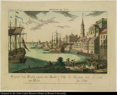 Prospect von Boston gegen der Bucht am Hafen. Vuë de Boston vers le Cale du Port