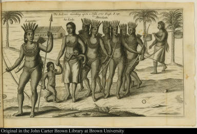 The Indians marching upon a Visit, or to Feast.