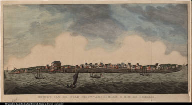 Gezigt van de stad Nieuw-Amsterdam a Rio de Berbice.