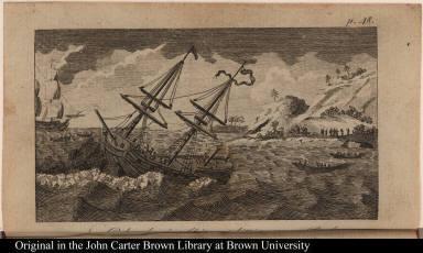 Columbus's Ship splitting on a Rock