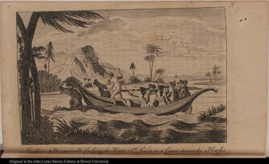Monsieur de Bougainville Crossing the River St: Lucia in a Canoe drawn by Horses