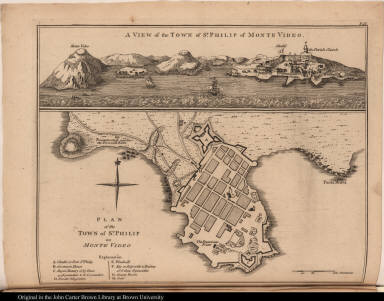 [top] A view of the Town of St. Philip of Monte Video. [bottom] Plan of the Town of St. Philip of Monte Video
