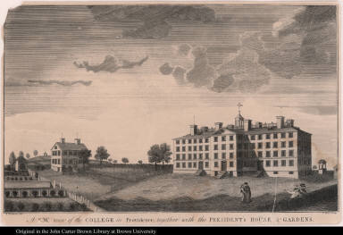 A S. W. View of the college in Providence, together with the President's House & Gardens.