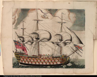 This view of his Majesty's ship the Formidable of 90 Guns on board of which Geo: Lord Brydges Rodney, on the 12 Apr 1782, ... did defeat 38 sail French off Martinique ...