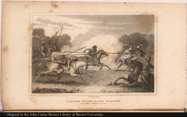 Lancers of the plains of Apuré, attacking Spanish troops.