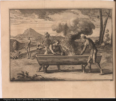 [Native Americans make canoes by building a fire inside the canoe]