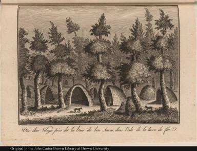 Vue d'un Vilage près de la baie de bon Succes, dans l'isle de la terre de feu.