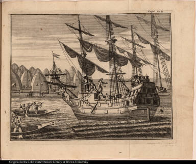 [Native Americans attack ships in harbor]