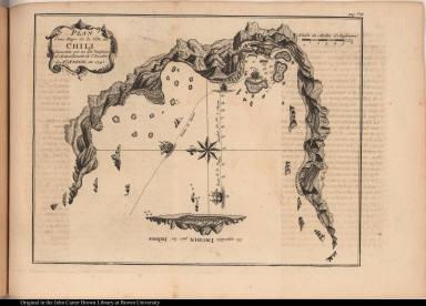 """Plan d'une Baye de la Côte du Chili découverte par un des Vaisseaux d'Avituaillement de l""""Escadre de Mr. Anson, en 1741."""