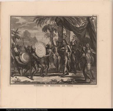 Geschenken van Montezuma aan Cortes.