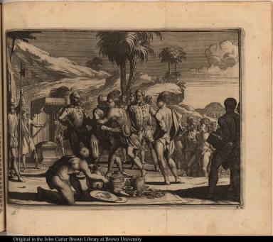 [European soldier embraces a native American cacique]