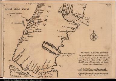 Fretum Magellanicum in quod Olivier a Noord Generalis navium devenit quinto die Novembris An. 1599 ...