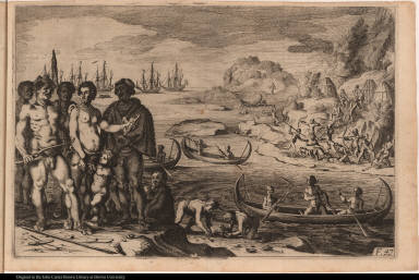 [Native Americans canoe, find food, and attack Europeans]