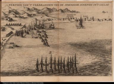 Vertoon van't verbranden van de spaensche schepen in't Callao