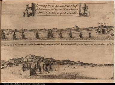 [top] Vertoning hoe de Nassausche vloot heest ghelegen onder de Cust van Nueva Spagna, wachtende op de Schepen uyt de Manillas.