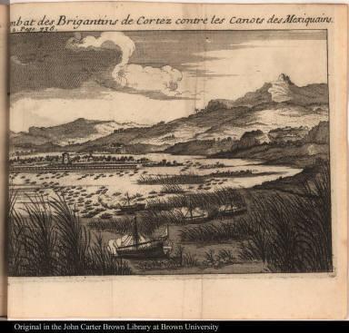 Combat des Brigantins de Cortez contre les canots des Mexiquains.