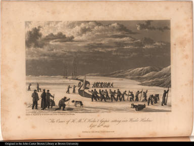 The Crews of H. M. S. Hecla & Griper cutting into Winter Harbour, Septr. 26th. 1819