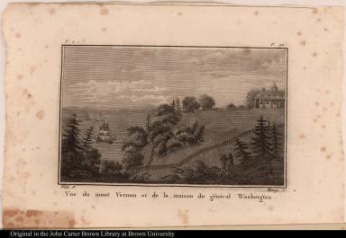 Vue du mont Vernon et de la maison du général Washington.